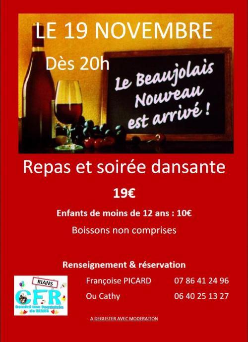 Repas et soir e dansante 39 le beaujolais nouveau est for Repas de soiree